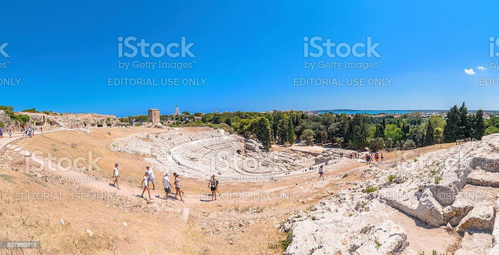 ancient Greek theater of Syracuse, Sicily, Italy stock photo