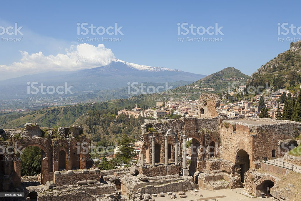 Ancient Greek Theatre in Taormina and Etna, Sicily Italy stock photo