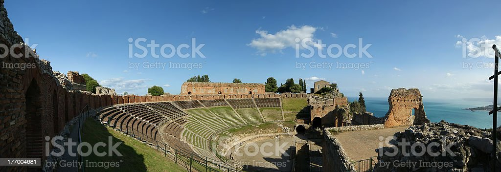 ancient greek theatre, in Taormina, southern Italy royalty-free stock photo