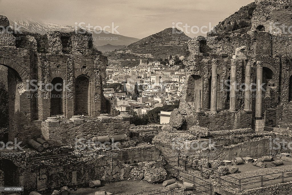 Ancient Greek Theatre of Taormina in Sicily stock photo