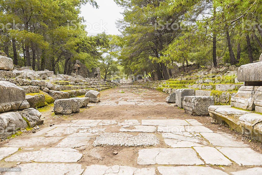 Ancient Greek town square ruins in Turkey stock photo
