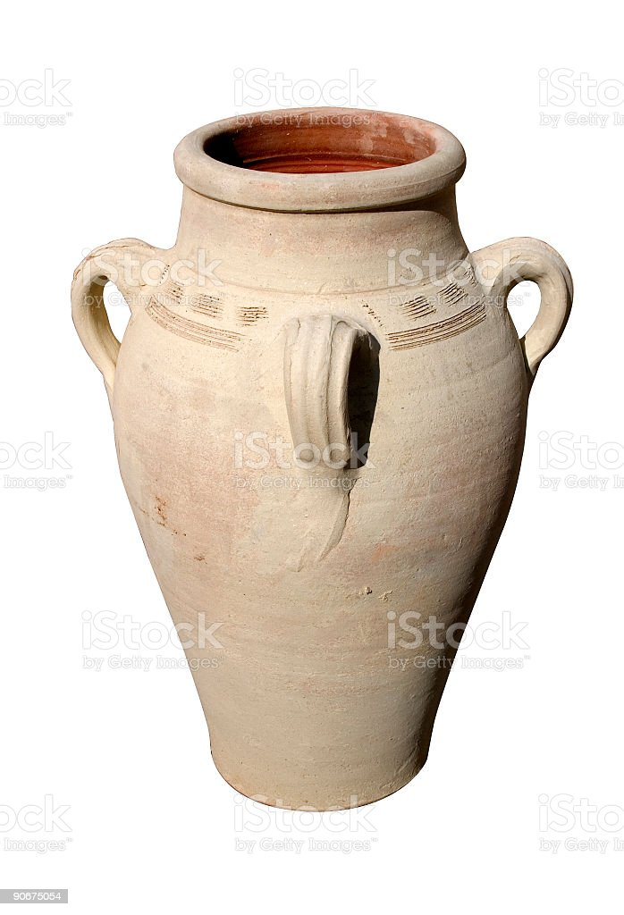 Ancient Greek traditional grecian urn (with clipping path) on white royalty-free stock photo