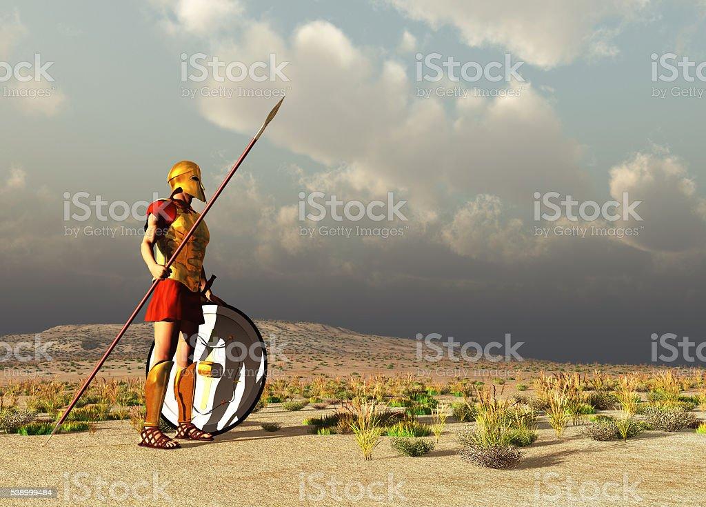 Ancient Greek warrior stock photo