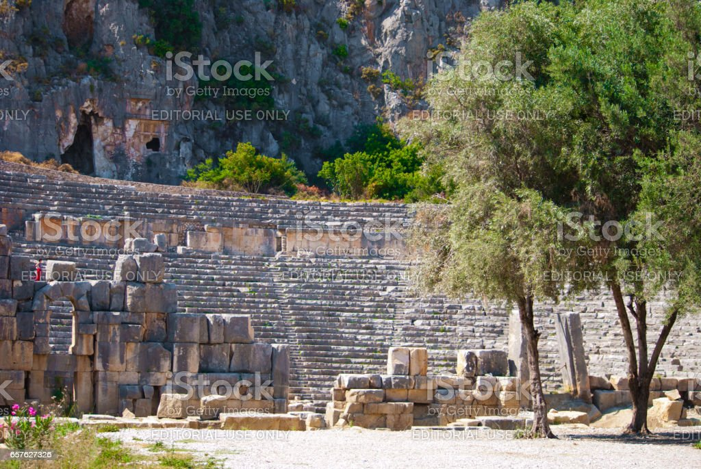 Demre, Turkey - June 9, 2012: Ancient Greek-Roman theater. Demre - the city and the region in the province Antalya. stock photo