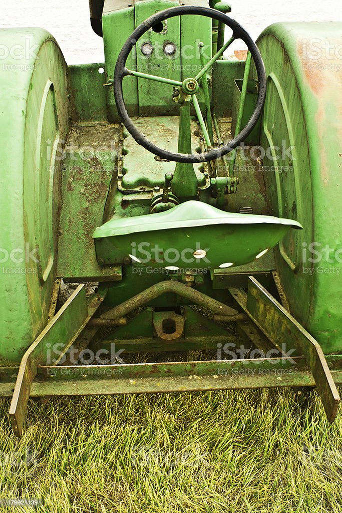 Ancient Green Tractor Interior royalty-free stock photo