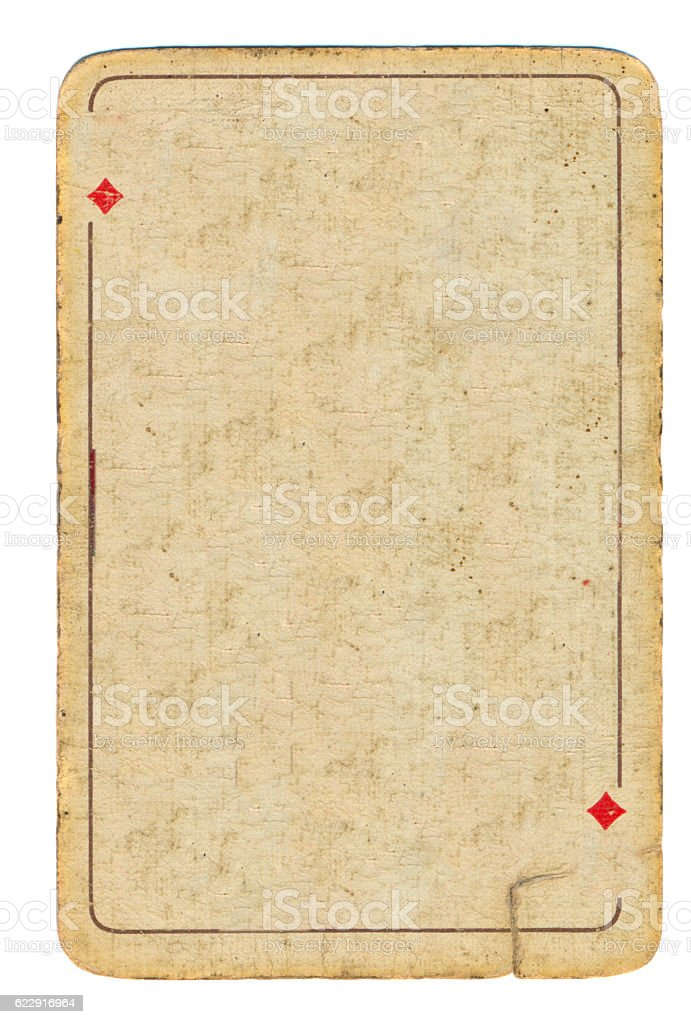 Ancient grunge playing card of diamonds background stock photo