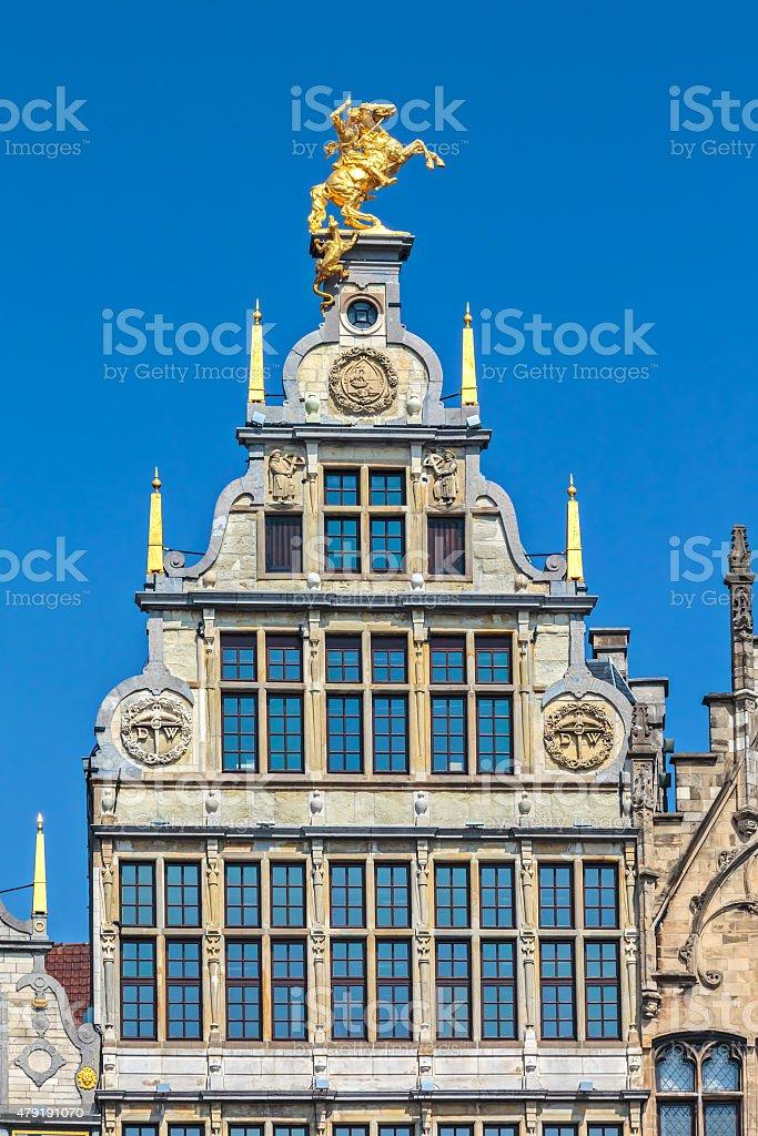Ancient guild house in Antwerp center, Belgium stock photo