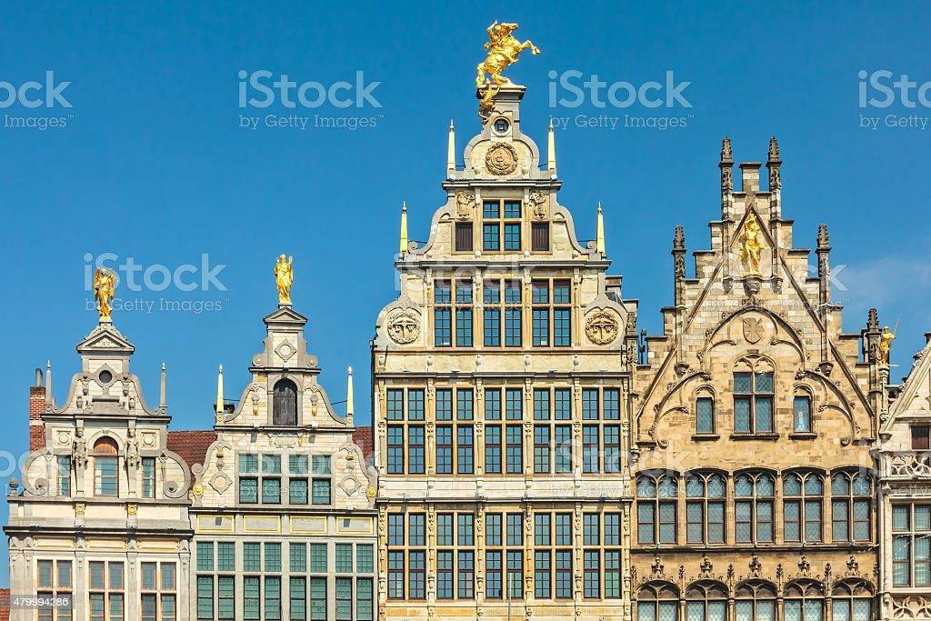 Ancient guild houses in Antwerp center, Belgium stock photo