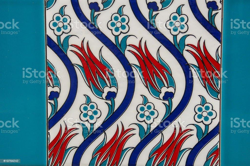 Ancient hand made Turkish - Ottoman tiles stock photo