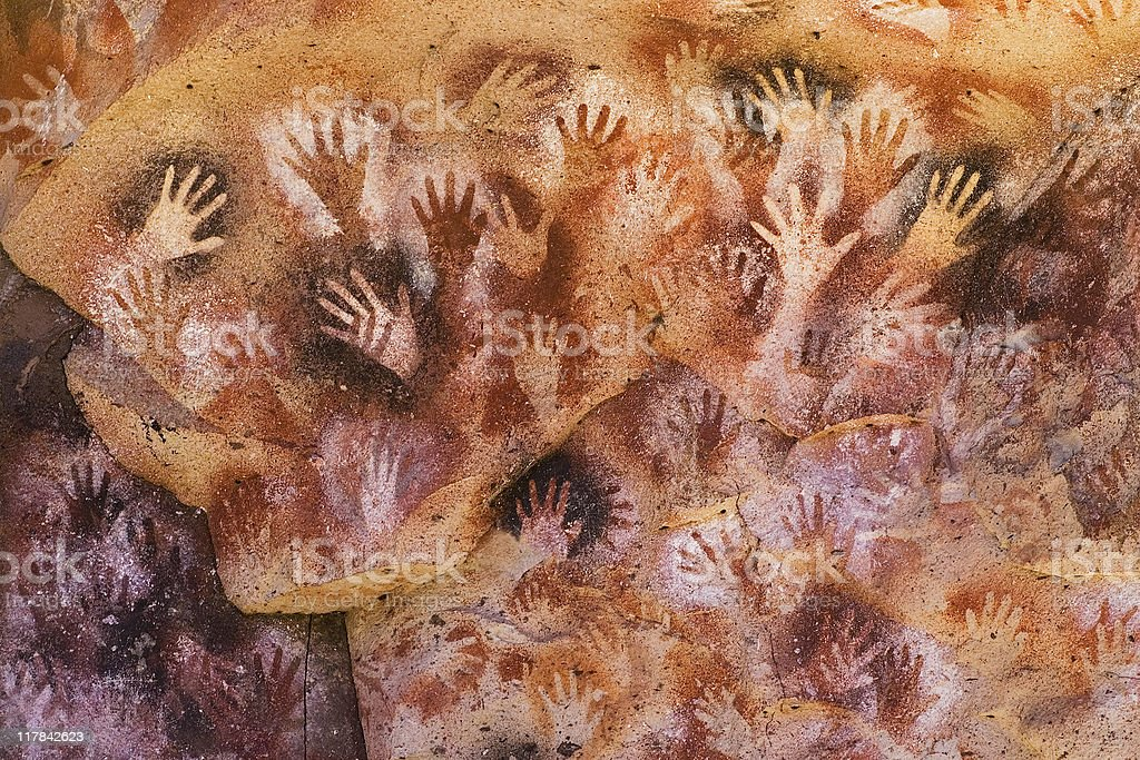 Ancient Hands Paintings in Patagonia stock photo