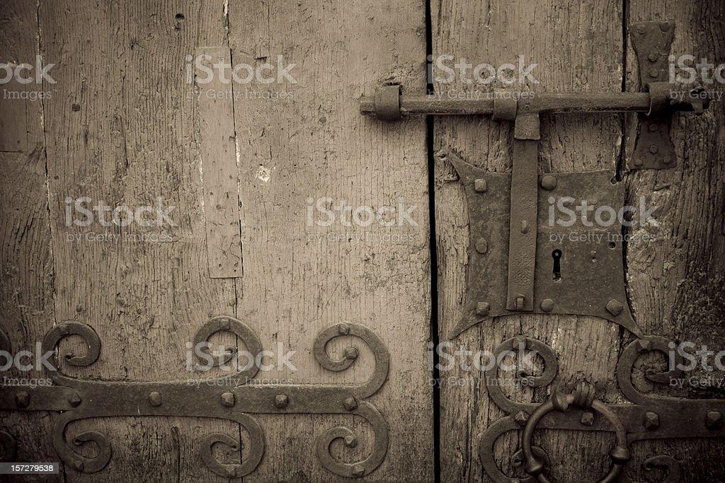 ancient hardwood door royalty-free stock photo