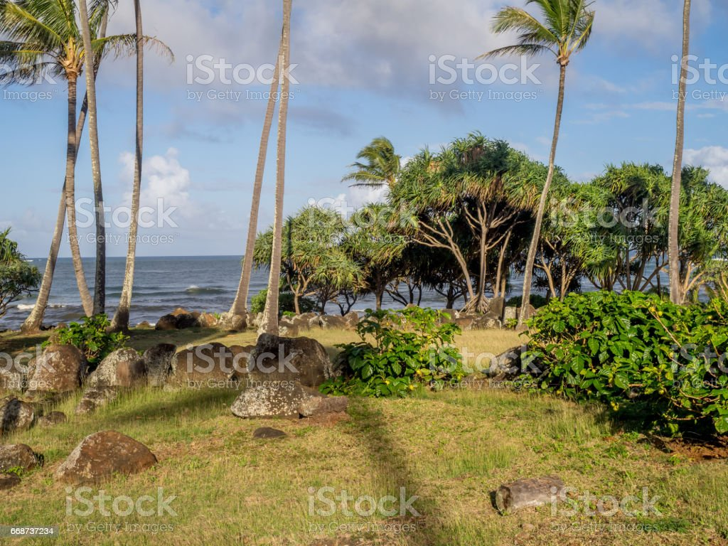Ancient Hawaiian temple, or Heiau stock photo