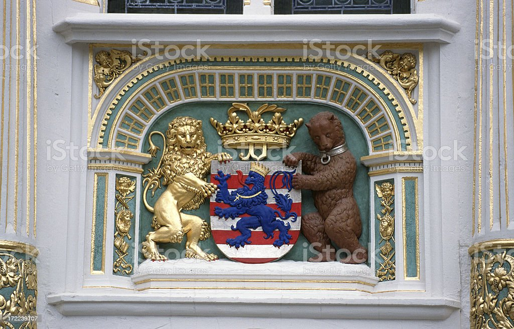 Ancient heraldic figure in a building. royalty-free stock photo