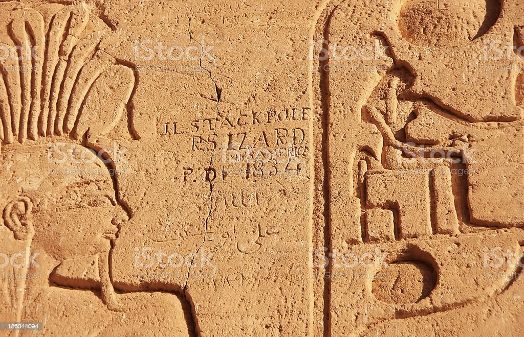 Ancient hieroglyphics on the wall, Great temple of Abu Simbel royalty-free stock photo