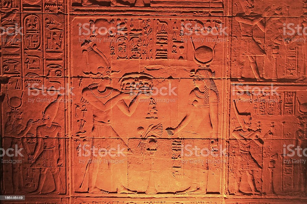 Ancient hieroglyphics on the wall of Philae Temple stock photo