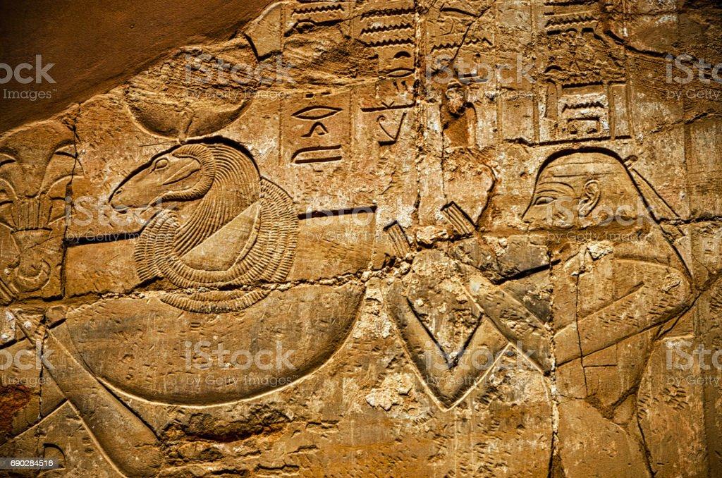 Ancient hieroglyphs on wall, Temple of Karnak, stock photo