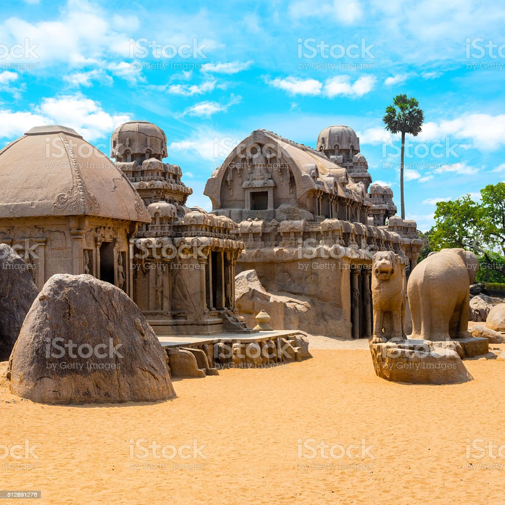 ancient Hindu monolithic Indian rock-cut architecture stock photo
