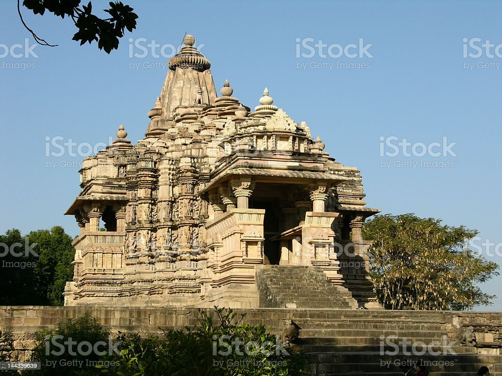 Ancient Hindu Temple at Khajuraho, India stock photo