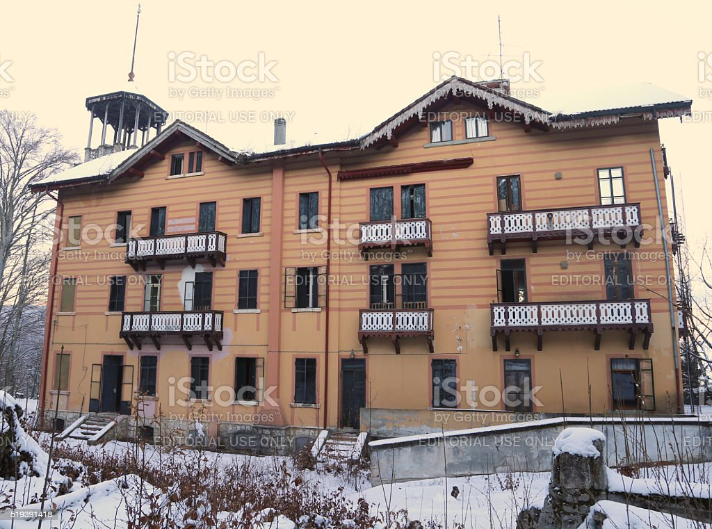 Ancient Hotel School called Scuola Alberghiera now completely ab stock photo