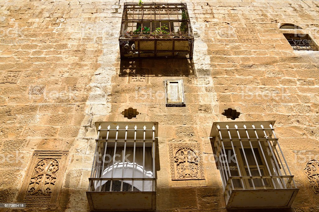 Ancient house facade in Old City of Jerusalem. stock photo