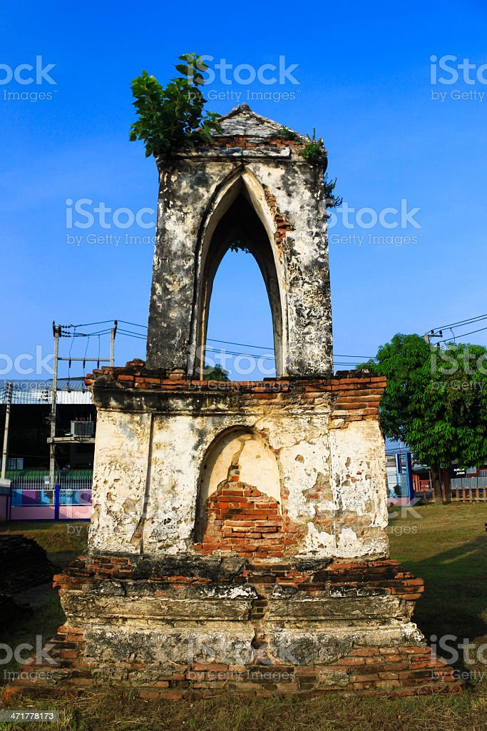 Ancient image bell tower in Thailand royalty-free stock photo