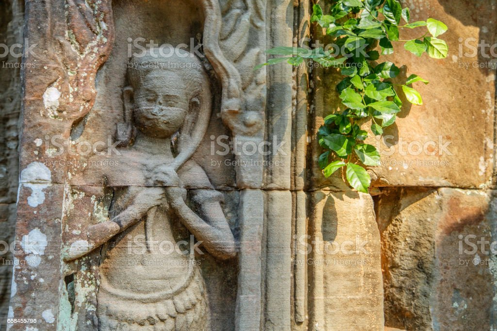 Ancient image of Khmer girl stock photo