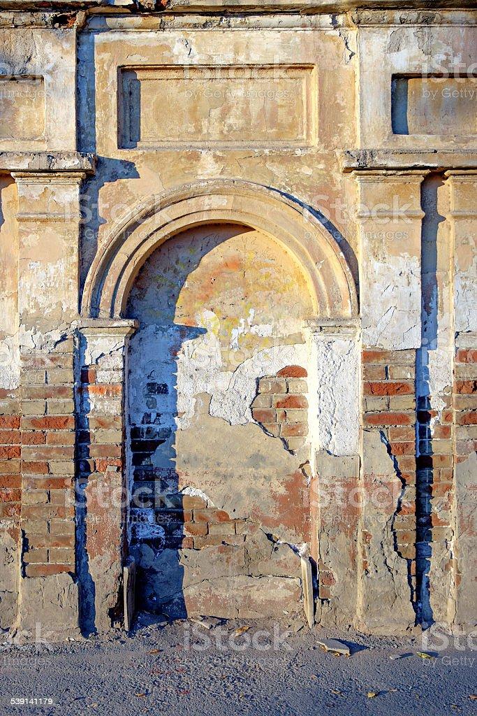 Ancient immured arc portal stock photo