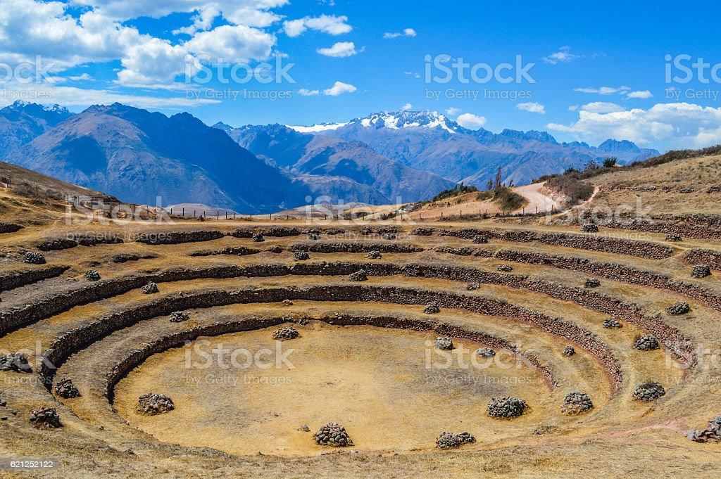 Ancient Inca circular terraces in Moray, Peru stock photo