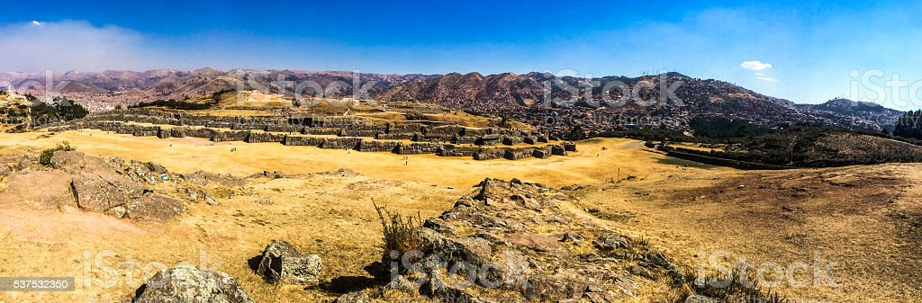 Ancient Inca ruins panoramic - Sacsayhuaman near Cusco, Peru stock photo