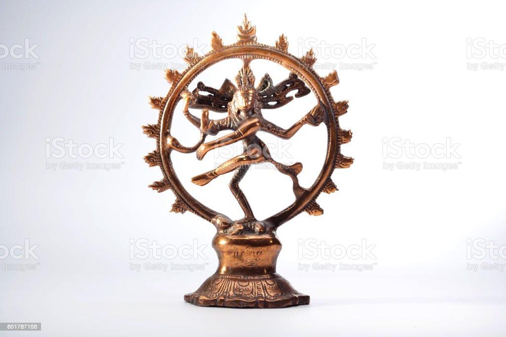 Ancient indian bronze Shiva Nataraja Dansculpture white background stock photo