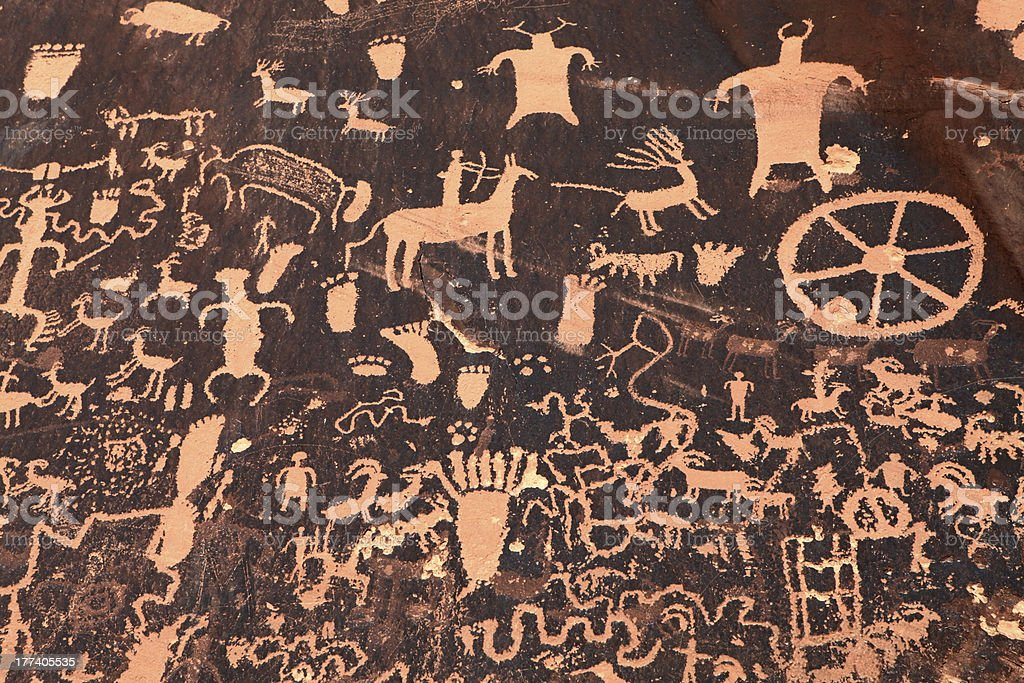 Ancient Indian Petroglyph in Moab, Utah stock photo