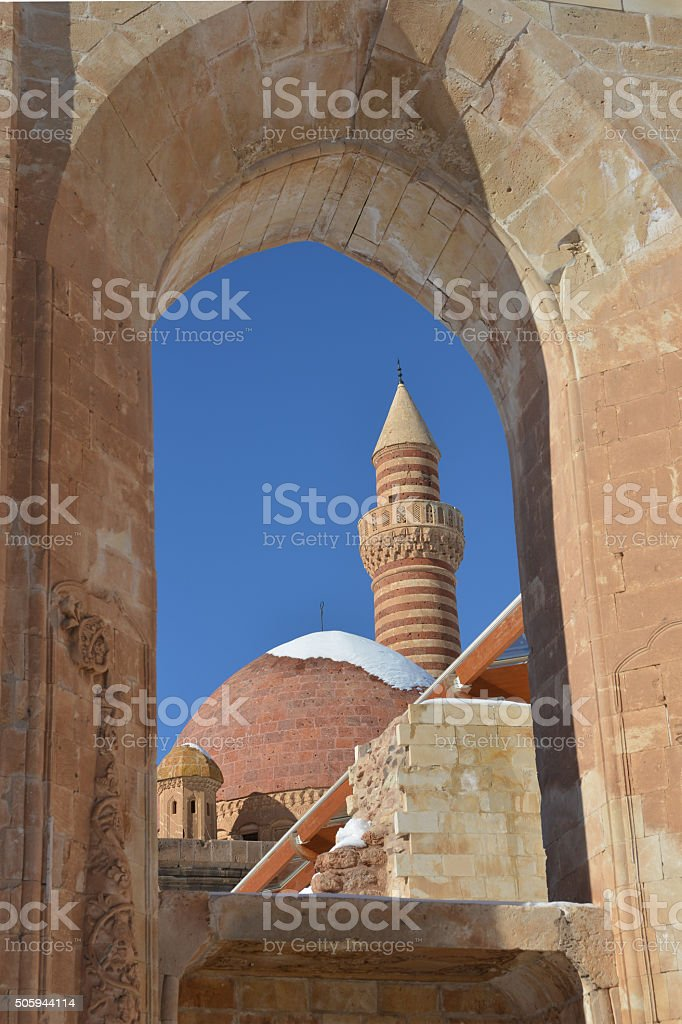 ancient Ishak Pasha Palace in details stock photo