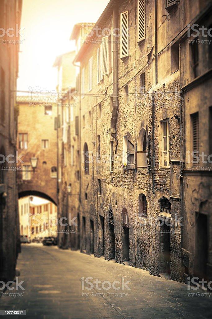 Ancient Italian Street in Siena, Tilt Shift Lens Effect royalty-free stock photo