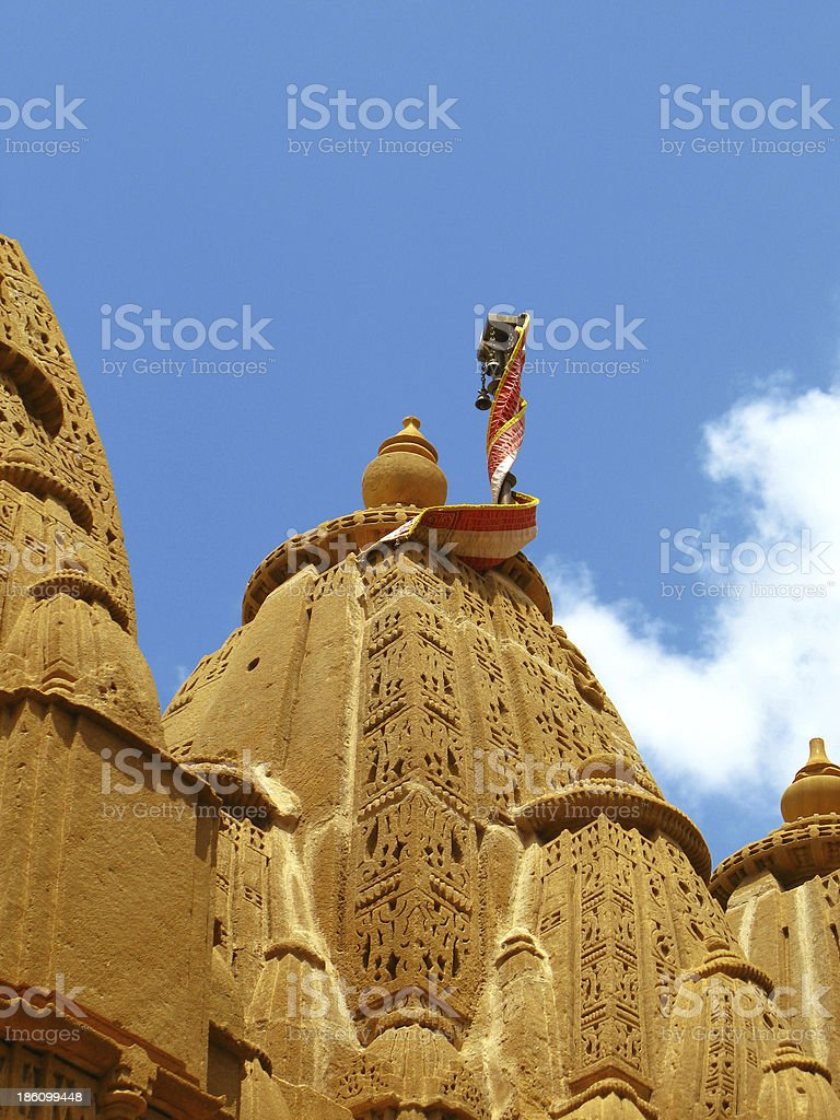 Ancient jainist temple in Jaisalmer, the magnificent 'Golden City' royalty-free stock photo