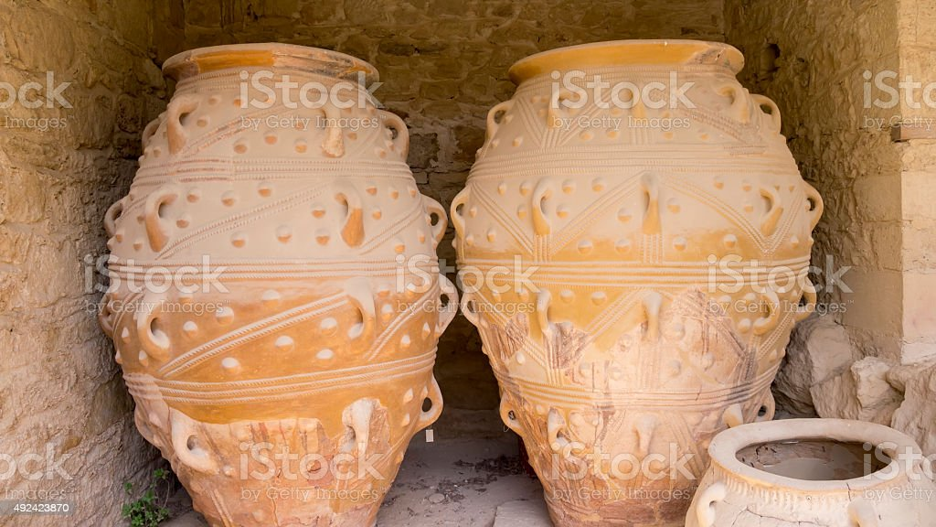 Ancient jars in Knossos Palace, Greece stock photo