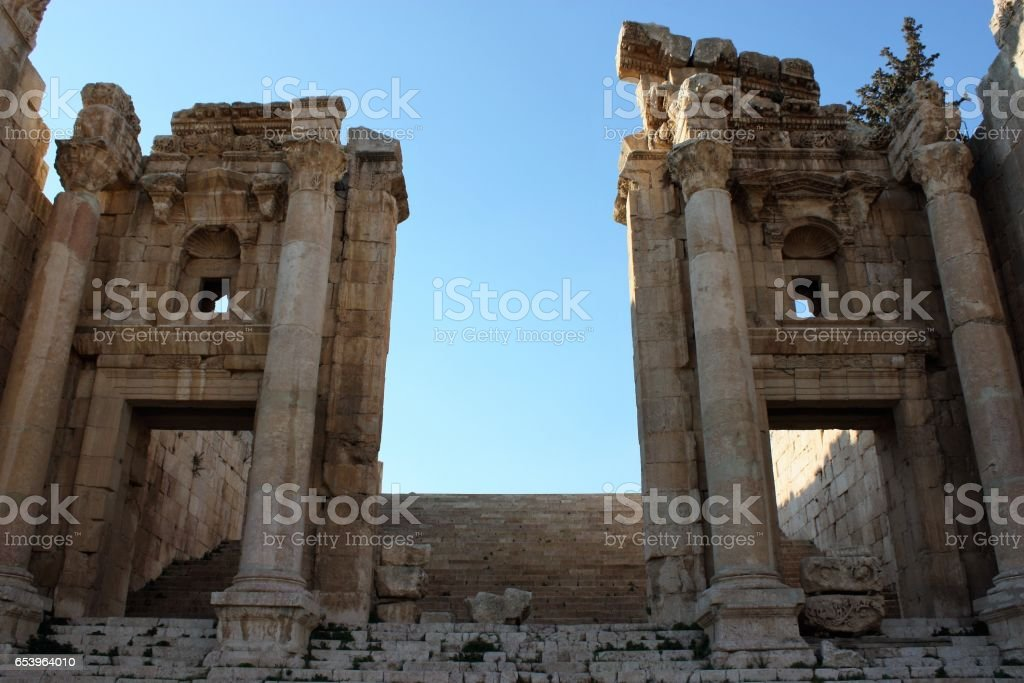 Ancient Jerash in Jordan, the Nymphaeum, Middle East stock photo