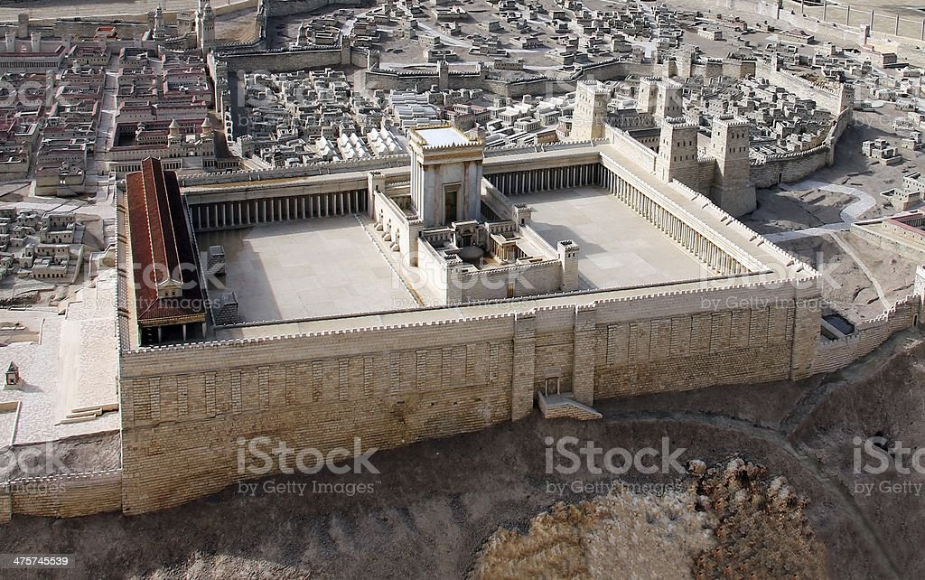 ancient Jerusalem and second temple stock photo