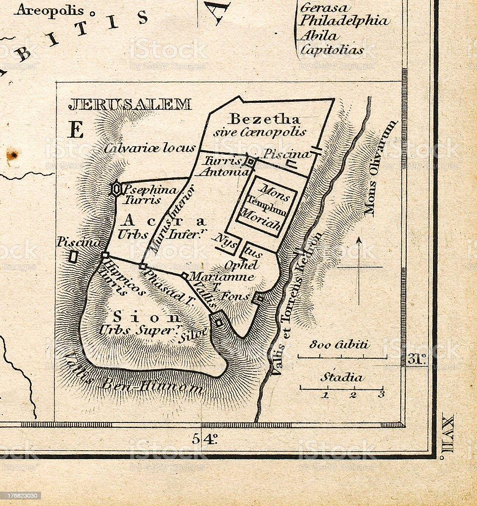 Ancient Jerusalem Map Printed 1845 stock photo