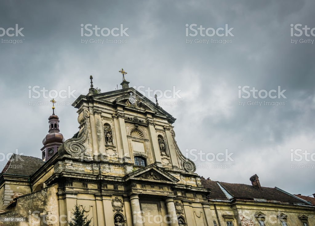 Ancient Jesuit Church of Peter and Paul. A trip to Eastern Europe. The City Of Lviv, Ukraine stock photo