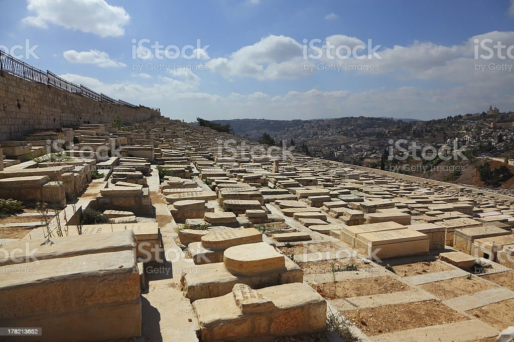 Ancient Jewish cemetery on the Olive mountain royalty-free stock photo