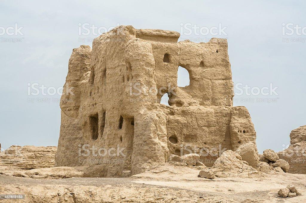 Ancient Jiaohe ruin in Xinjiang stock photo