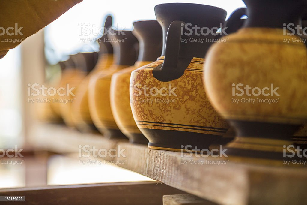 Ancient jugs with ornament stock photo