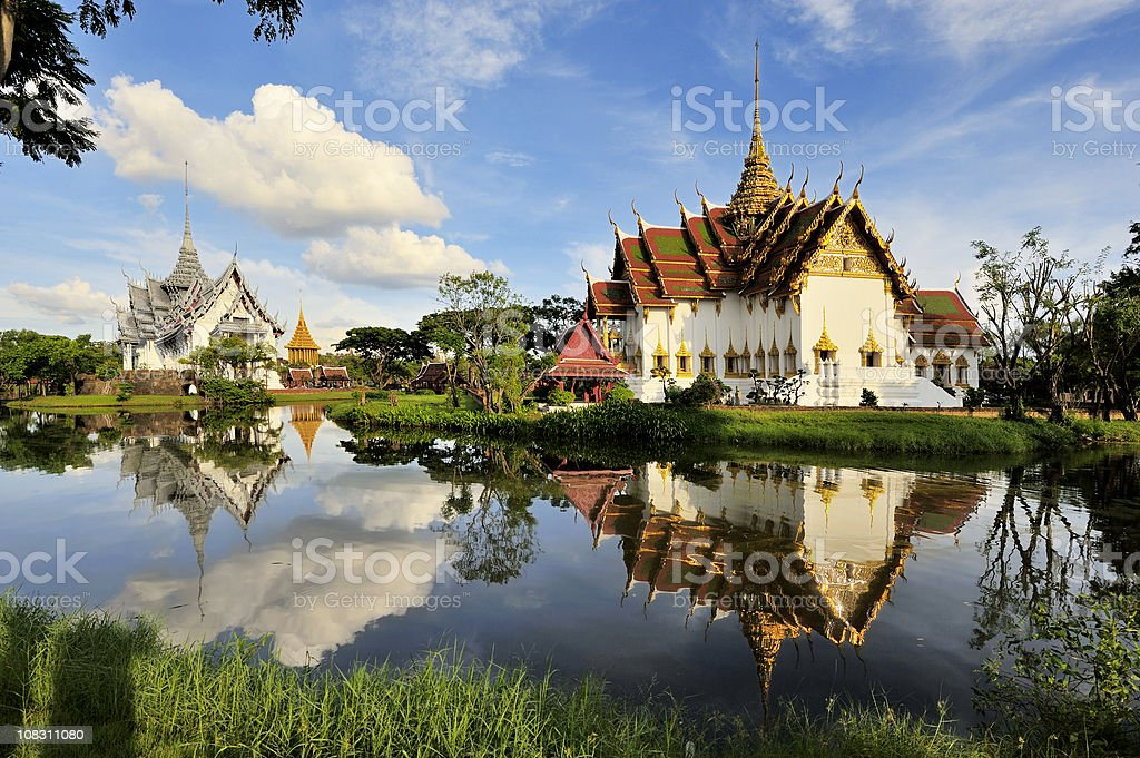 Ancient Kings Palace with reflection in a lake stock photo