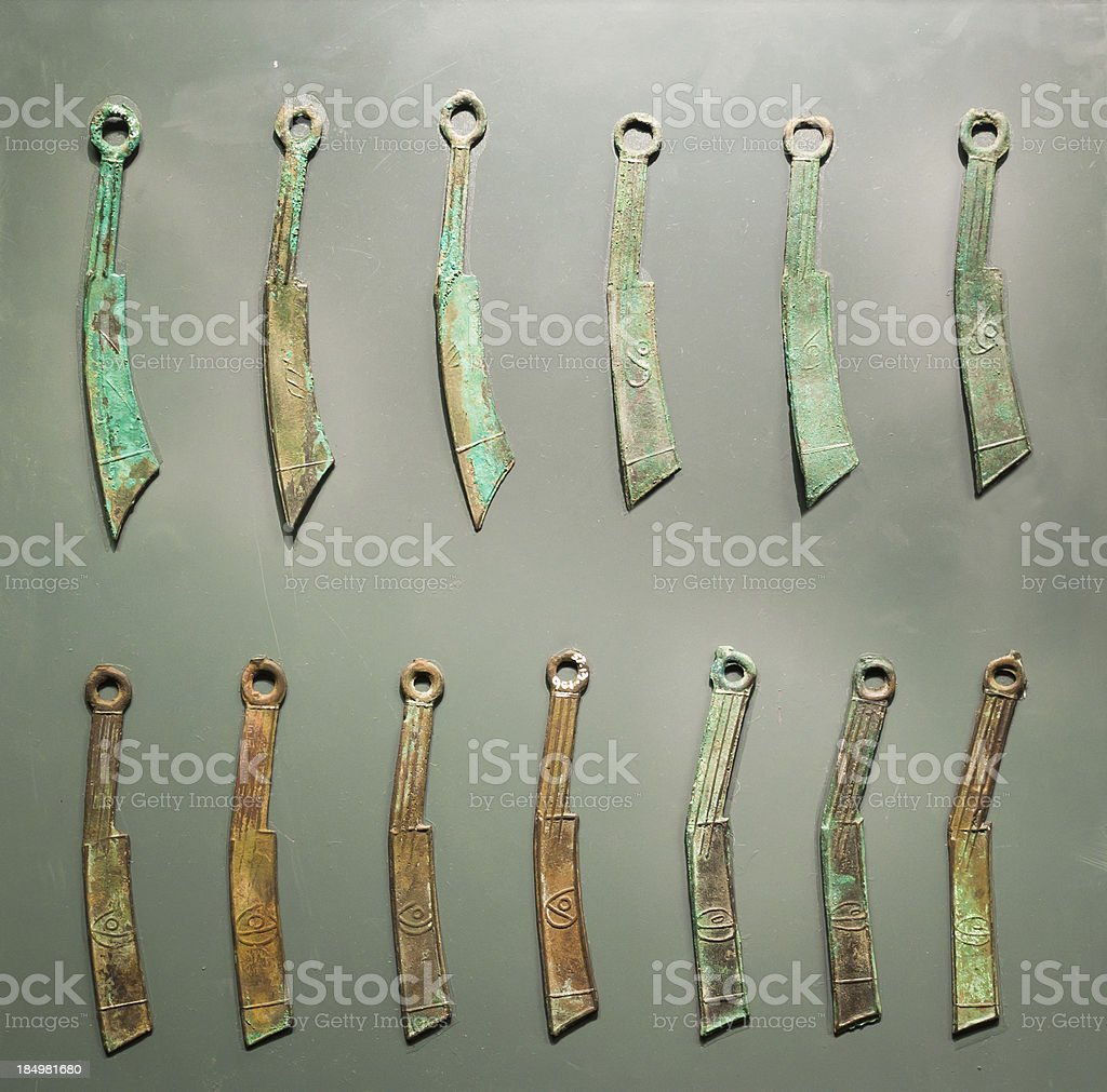 Ancient knife-shaped money of China royalty-free stock photo