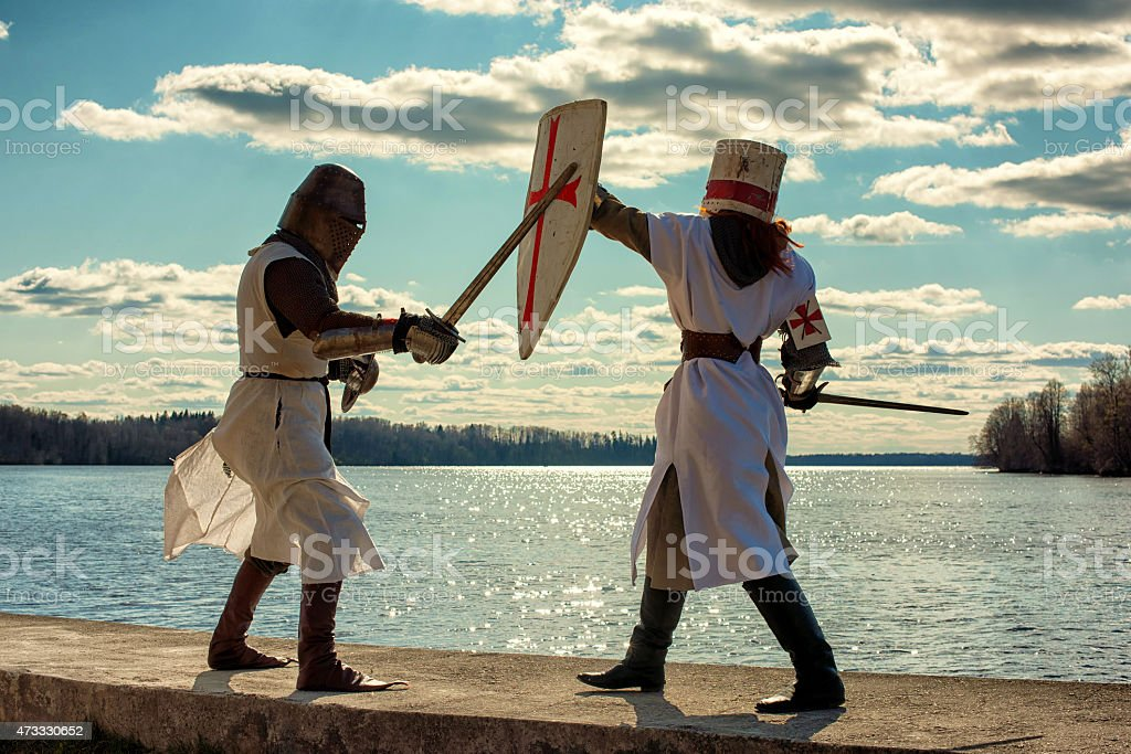 Ancient knights battle stock photo