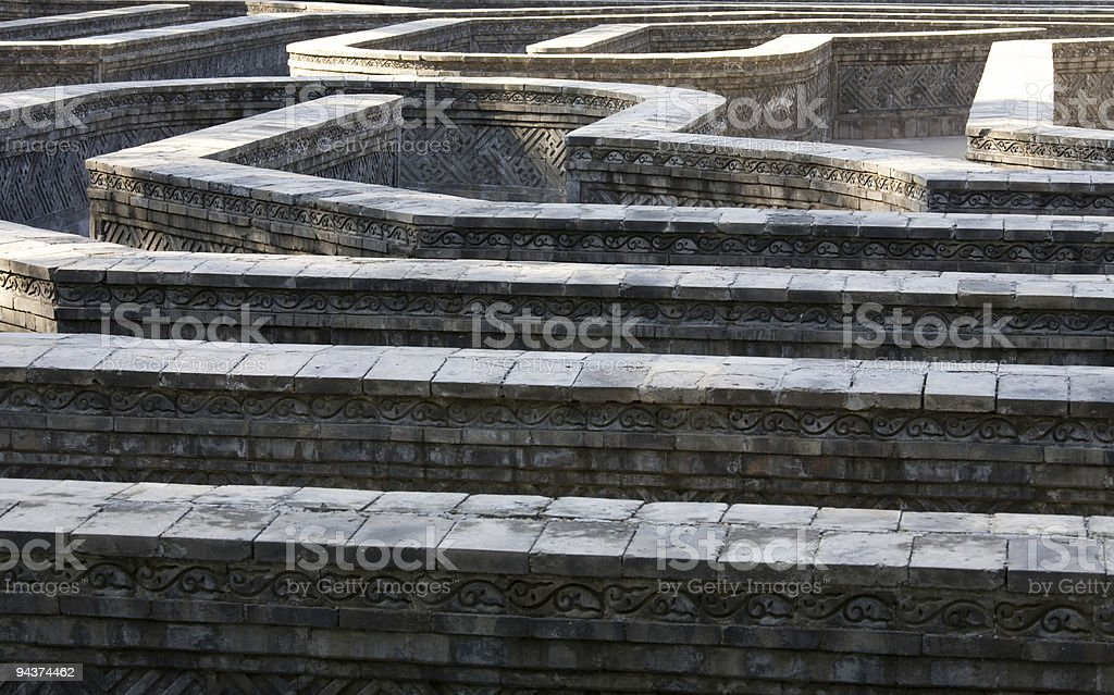Ancient labyrinth horisontal stock photo