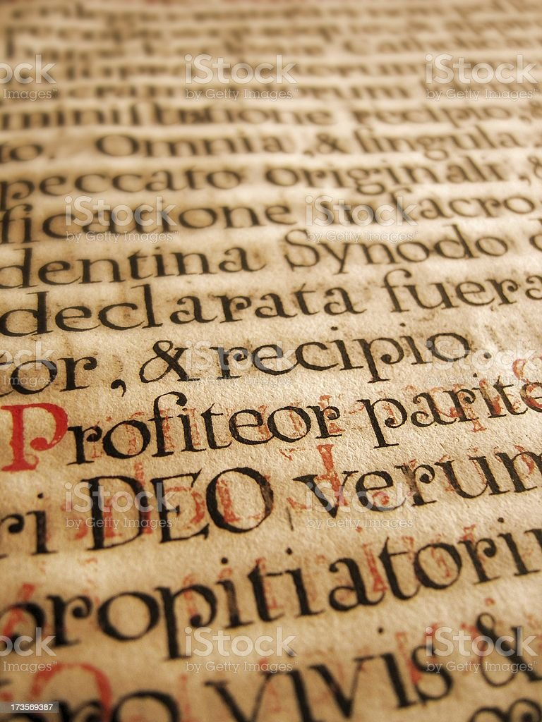 ancient latin handwriting stock photo