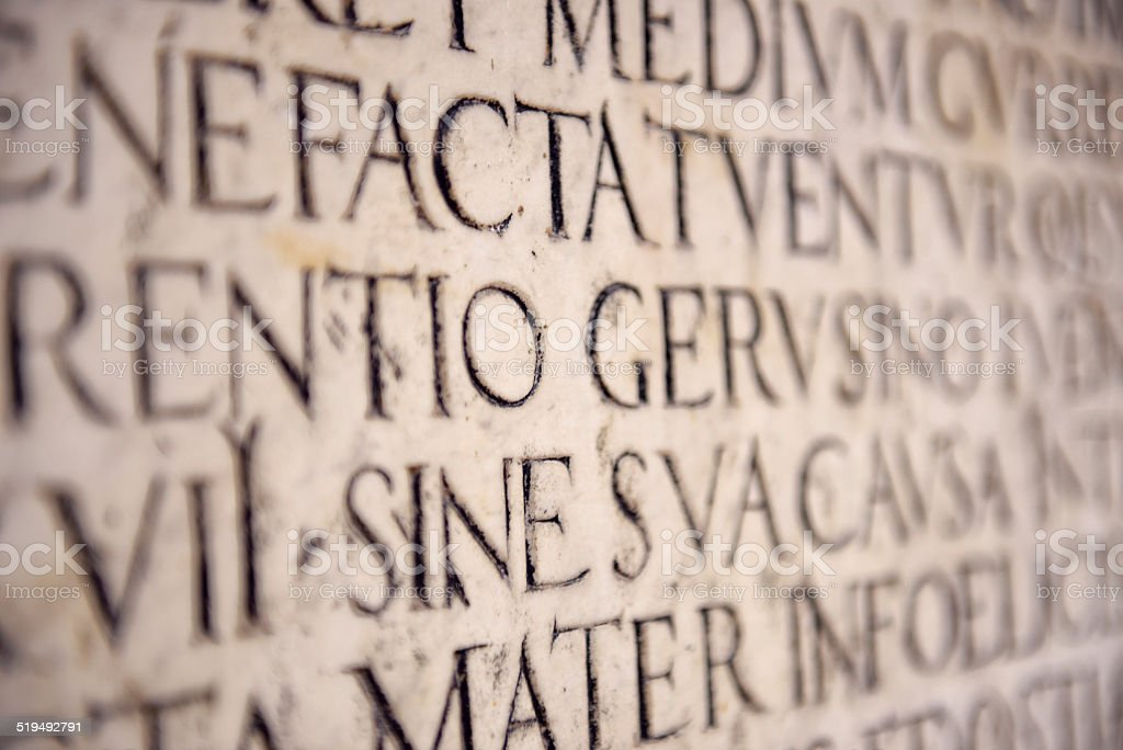 Ancient Latin Inscription stock photo