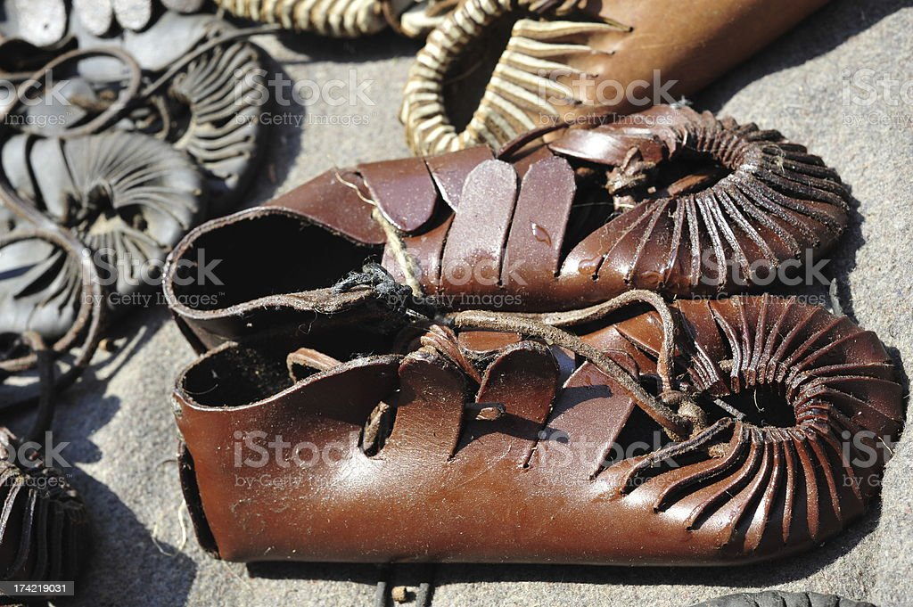 Ancient leather sandals royalty-free stock photo