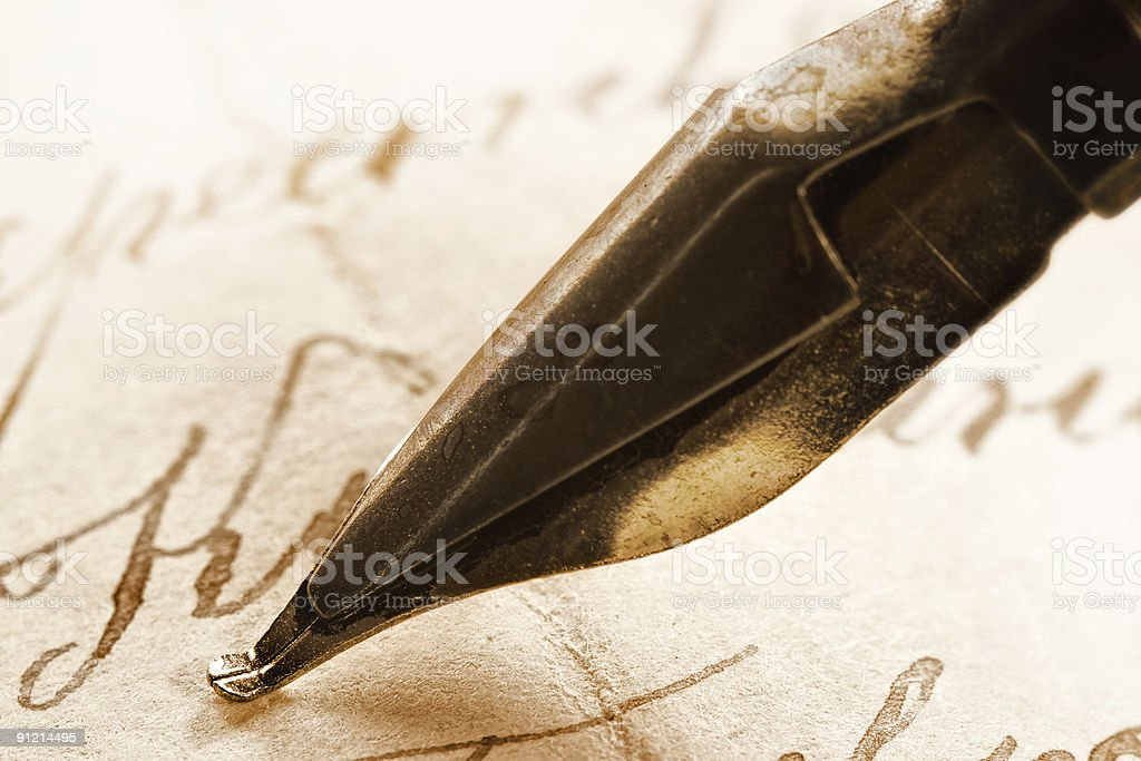 Ancient letter and ink feath stock photo